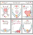 Retro card with floral decorCute Holiday set vector image vector image
