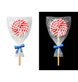 round candy on stick in plastic wrapper with bow vector image vector image