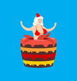 santa girl from cake striptease congratulation vector image