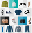 Set of flat men clothes and accessories icons