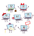 Set of funny cartoon laptop computer characters