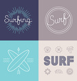set surfing logo design templates vector image vector image
