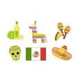 traditional cultural mexico symbols set maracas vector image