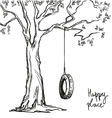 tree with tyre swing vector image vector image