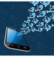 Twitter birds splash out smartphone application vector image vector image