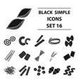 types of pasta set icons in black style big vector image