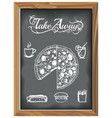 vintage chalkboard with tale away pizza and food vector image