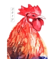 watercolor fire cock on white background vector image vector image