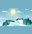 winter landscape house on snowy highlands in vector image