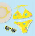 yellow bikini with sunglasses summer concept vector image