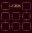 golden set of vintage elegant square frames with vector image