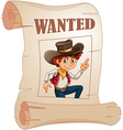 A poster of a wanted young cowboy vector image vector image