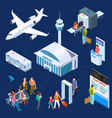 airport isometric concept passenger vector image