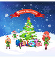 beautiful christmas greeting card fir tree and vector image