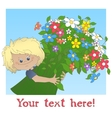 Boy with a big bouquet of flower vector image vector image