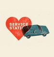car service station vintage style grunge poster vector image