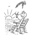 cartoon stick man relaxing sitting on the beach vector image vector image