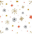 christmas seamless pattern with snowflakes hand vector image vector image