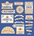 circus labels carnival show banner vintage label vector image