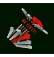 Competition Gray arrows and leading red arrow vector image