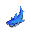 cute blue shark swimming to find some fish food vector image vector image
