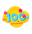 cute cartoon template 100 years anniversary vector image