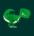 cute green angry dinosaur cartoon character vector image