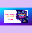 cyber monday shopping neon landing page vector image vector image