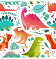 dinosaur seamless pattern dino textile print vector image vector image