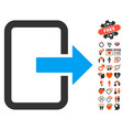 exit door icon with valentine bonus vector image vector image
