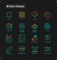 fabric feature thin line icons set vector image
