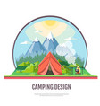 flat style design of mountains landscape and vector image vector image