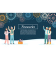friends launching fireworks group people vector image vector image