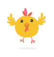 funny cartoon chicken flying vector image vector image