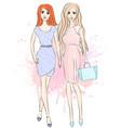 girl models in dresses vector image vector image