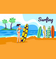 girl with surfer board stand at beautiful seaside vector image vector image