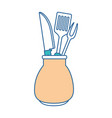 grill cutlery in pot vector image vector image