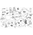 hand drawn set with ocean life cartoon cute vector image