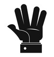 hand hello icon simple black style vector image vector image