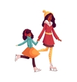 Happy black mother and daughter ice skating vector image vector image