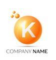 k letter splash orange dots and circle bubble vector image vector image