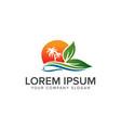 landscape summer logo design concept template vector image