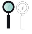 magnifying glass painted and black and white vector image