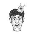 man with brain slug sketch vector image
