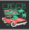 miami typography for t-shirt print and retro car vector image
