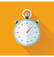 Mint flat stopwatch icon over orange vector image
