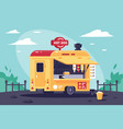 mobile stall with hot dogs at work in the park vector image vector image