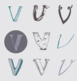 Original letters V set isolated on light gray vector image