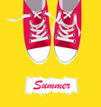 pair of shoes on color background vector image vector image