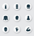part icons set with oral cavity face head and vector image vector image